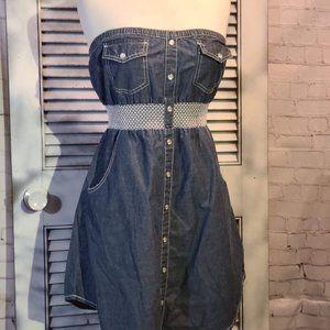 American Rag Med Strapless Denim Dress